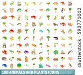 100 animals and plants icons... | Shutterstock .eps vector #593771012