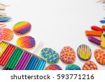 colored easter eggs. color... | Shutterstock . vector #593771216