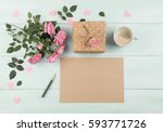 pink roses with blank sheet... | Shutterstock . vector #593771726