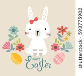 cute happy easter template with ... | Shutterstock .eps vector #593775902