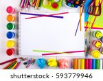 white canvas on a drawing table ...   Shutterstock . vector #593779946