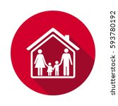 family and home flat icon | Shutterstock . vector #593780192
