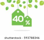 vector green hanging price tag... | Shutterstock .eps vector #593788346