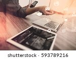 businessman working with smart... | Shutterstock . vector #593789216