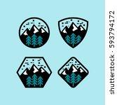 mountain badge set in circular  ... | Shutterstock .eps vector #593794172