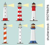 Lighthouse, Set of lighthouses, path lighting. Flat design, vector illustration.