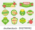 spring sale labels collection | Shutterstock .eps vector #593799992