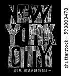 new york hand drawn artwork...   Shutterstock .eps vector #593803478