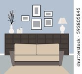 a sofa in a gray living room... | Shutterstock .eps vector #593805845