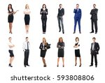 set of business people isolated ... | Shutterstock . vector #593808806