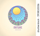 vector logo of nature elements... | Shutterstock .eps vector #593810336