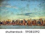 photo grunge new york city over hudson river skyline - stock photo