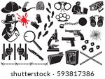 detective vector icons set ... | Shutterstock .eps vector #593817386