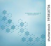 hexagonal molecule dna.... | Shutterstock .eps vector #593818736