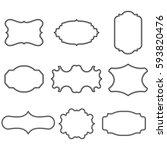 set of blank vintage frames.... | Shutterstock .eps vector #593820476