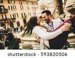 loving couple having fun in... | Shutterstock . vector #593820506