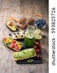 healthy breakfast with vegan... | Shutterstock . vector #593825726