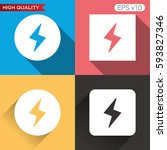 colored icon or button of flash ... | Shutterstock .eps vector #593827346