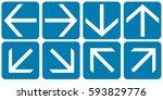 arrows set blue. vector. | Shutterstock .eps vector #593829776