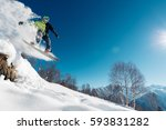 snowboarder is jumping with... | Shutterstock . vector #593831282