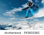 snowboarder is jumping with... | Shutterstock . vector #593833382