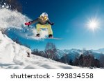 girl is jumping with snowboard... | Shutterstock . vector #593834558