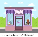 facade baby store building with ... | Shutterstock .eps vector #593836562