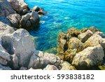 rocky atlantic coast with... | Shutterstock . vector #593838182