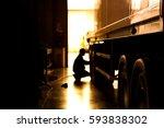silhouette blur automobile... | Shutterstock . vector #593838302
