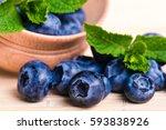 fresh sweet blueberry fruit and ... | Shutterstock . vector #593838926