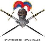 ancient knight combat helmet... | Shutterstock .eps vector #593840186