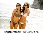 young women in a bikini having... | Shutterstock . vector #593840576