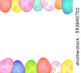 easter card with painted eggs | Shutterstock . vector #593840702