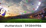 stadium sunset confetti and... | Shutterstock . vector #593844986