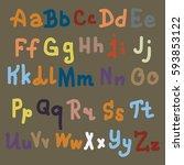 hand drawn alphabet. brush... | Shutterstock .eps vector #593853122