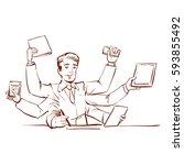busy businessman multitasking... | Shutterstock .eps vector #593855492