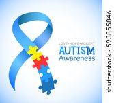 world autism awareness day.... | Shutterstock .eps vector #593855846