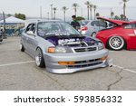Small photo of Irwindale, USA - March 4, 2017: Vintage Acura on display during 742 Race Wars at the Irwindale Speedway.