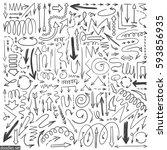 arrows doodle vector. set of... | Shutterstock .eps vector #593856935