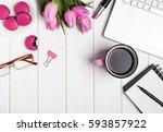 woman's desktop with laptop ... | Shutterstock . vector #593857922