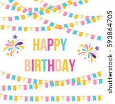 happy birthday card template... | Shutterstock .eps vector #593864705