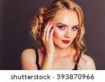 fashion portrait of attractive... | Shutterstock . vector #593870966