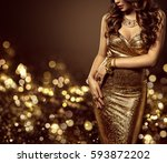 fashion model body in gold... | Shutterstock . vector #593872202
