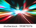 lighting speed effect background | Shutterstock . vector #593875376