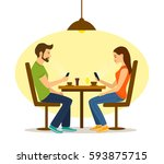 young man and woman on a date... | Shutterstock .eps vector #593875715