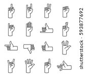 gestures of hands icons line.... | Shutterstock . vector #593877692