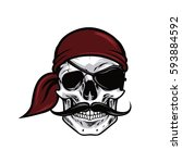 pirate head skull mascot vector