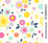 seamless pattern with flowers ... | Shutterstock .eps vector #593888402
