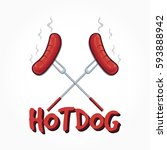 two sausages on grill forks... | Shutterstock .eps vector #593888942