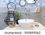 interior of bathroom with sink... | Shutterstock . vector #593895062
